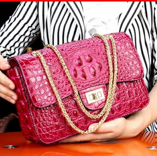 Free shipping DHL top quality True Crocodile Skin Classic Deluxe Girl Bag