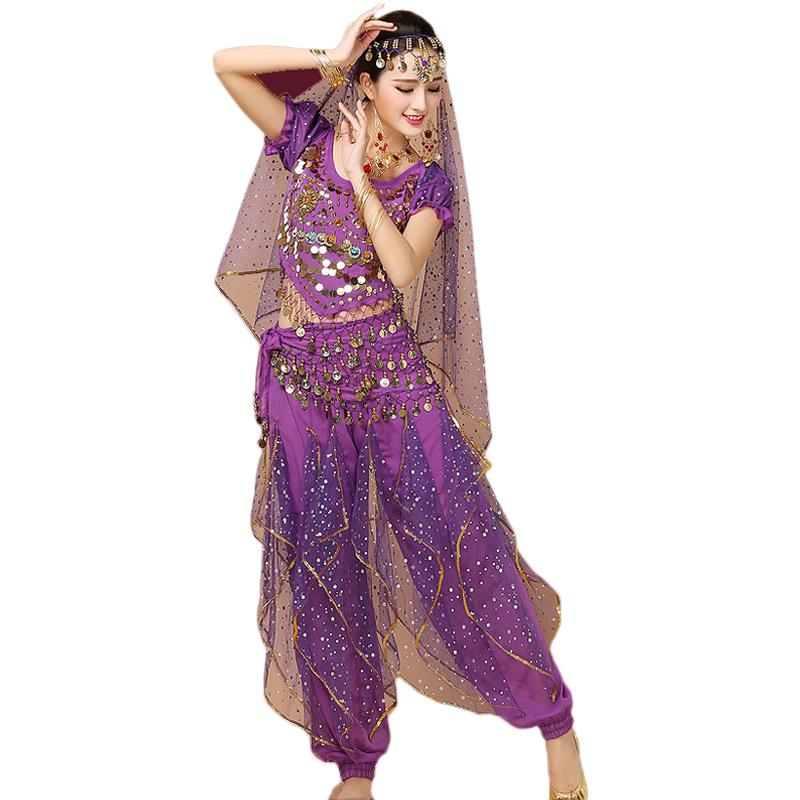4 pcs/Set Belly Dance Costume Set Indian Dance Bellydance Skirt Suit Women Chiffon Dresswear Dancing Clothing