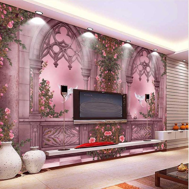 Delightful 2016 New Fashion 3D Landscape Wallpaper Rose Tree Window Wall Paper Home  Decor Beautiful Background Waterproof