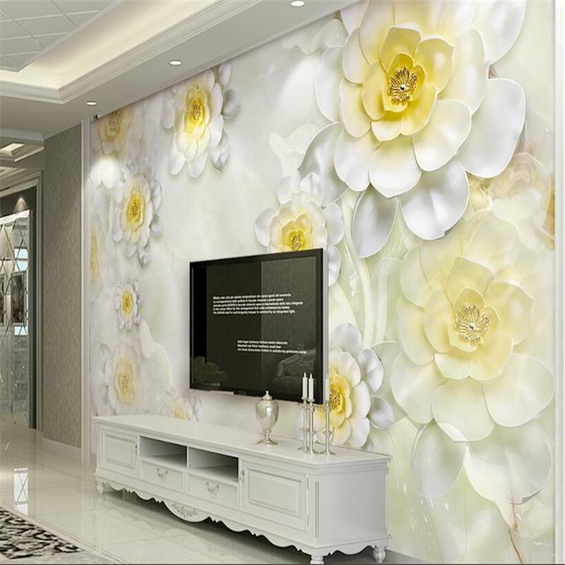 beibehang wallpaper picture new 3D 3d flower romantic white European TV backdrop wall wallpaper for kids room papier peint 3d beibehang papier peint kids room fashion