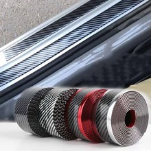 Car Styling 1M Carbon Fiber Rubber Moulding Strip Soft Black Trim Bumper Strip DIY Door Sill Protector Edge Guard Car Stickers 1m car door edge protection carbon fiber rubber moulding strip soft black trim bumper strip diy guard car stickers car styling