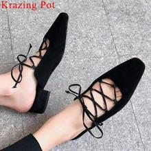 Women Pumps Princess-Style Krazing-Pot Size-Shoes Square Toe Low-Heels High-Quality L08