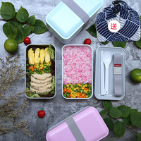 2 Layers Plastic Lunch Box Bento LunchBox with spoon Bags Portable Food Container tableware Set Office Student Dinnerware Z0071