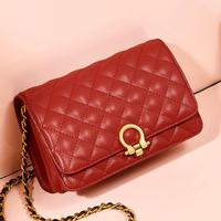 2019 New Red Genuine Leather Messenger Bag Women,Fashion Shoulder Bag Female Brand Purse sac a main