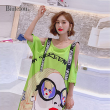 2019 Summer off shoulder long dresses fashion hollow out loose women vestido
