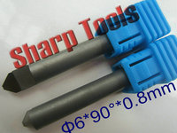 6*0.8MM 90 Degree V Carve Diamond PCD Tool Router Bit CNC End Mill Set, PCD Diamond CNC End Mill Bits Cutter for Granite Stone