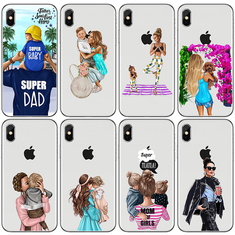Moskado Phone Case <font><b>For</b></font> <font><b>iPhone</b></font> 7 8 <font><b>6</b></font> 6s Plus X Xs XR XS Max 5 5s SE Baby <font><b>Girl</b></font> Hair Mom Women Soft Silicone TPU Cases Back <font><b>Cover</b></font> image