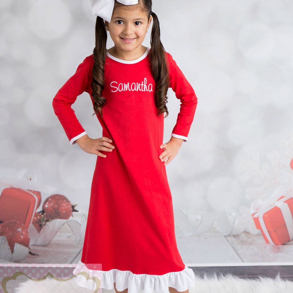 Girls-Christmas-Nightgown-Ruffle-Dress-Girls-Christmas-Pajamas-Red-And-White-Stripe-personalized-custom-initial-monogram-Dress-5