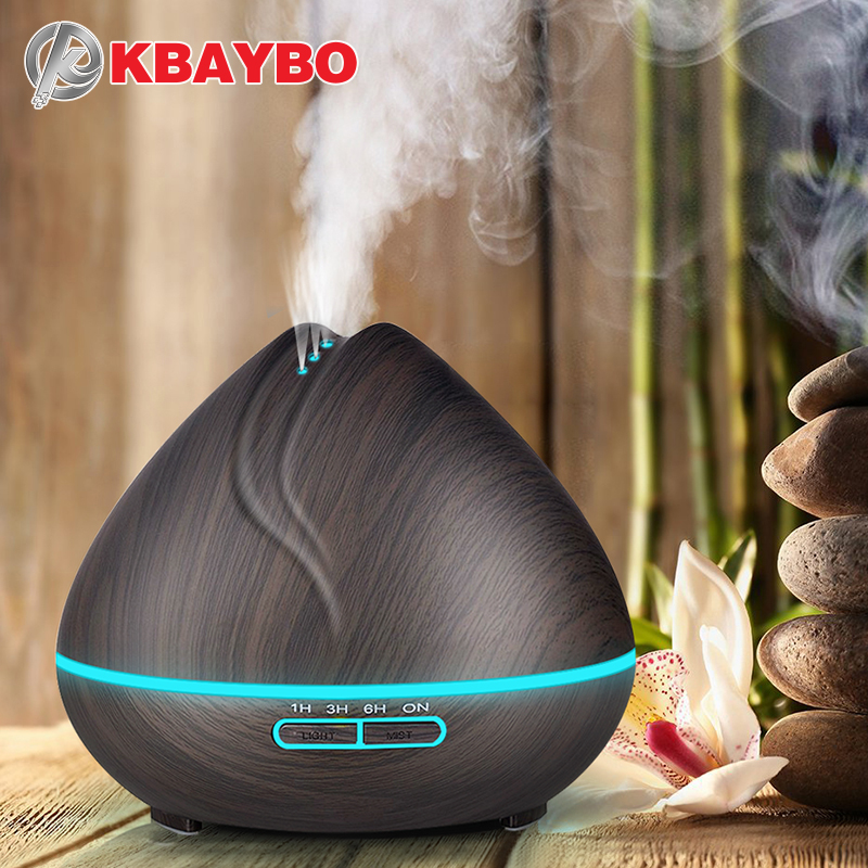 Ultrasonic Aromatherapy Humidifier Essential Oil Diffuser Air Purifier Mist Aroma Diffuser Fogger LED Light 400ML Dark Wood