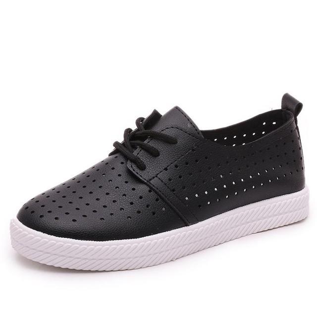 La Nueva Moda Para Mujer zapatos Planos Casuales Zapatos Planos Respirables Mocasines Venta Caliente Del Otoño Del Resorte Negro Blanco alta calidad