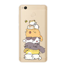 Cat Phone Case For Xiaomi mi Redmi A1 Max2 note3 4X 5A mi6 5X Y1 Cute Transparent TPU Soft Silicone Back Cover Colorful Painted(China)