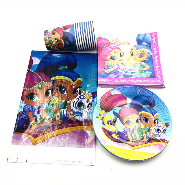 38pcs Lot Shimmer Shine Hats Cups Napkins Baby Shower Party
