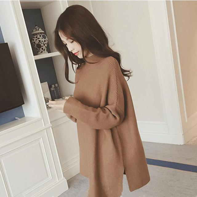 2016The Autumn Of New Women Loose In The Long Sleeve Hem Slit Half Head Polo Neck Sweater