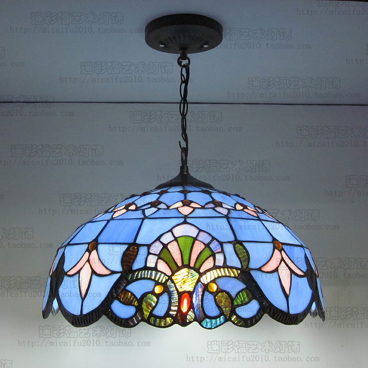 Tiffany Baroque vitrail suspendu Luminaire E27 110-240v chaîne pendentif lumières éclairage lampes pour maison salon salle à manger - 2