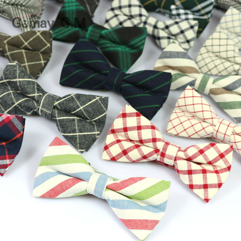 New Men Fashion Classic Plaid Cotton Bowtie Neckwear Adjustable Mens Bow Tie for wedding england style ties