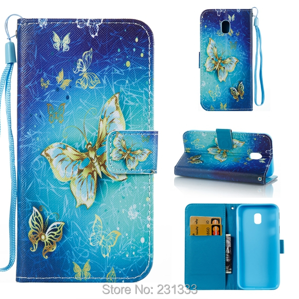 For Samsung Galaxy J3 2017 J330 Cartoon Flower Strap Wallet Leather Pouch Case OWL Butterfly TPU ID Card Stand Skin Cover 50PCS