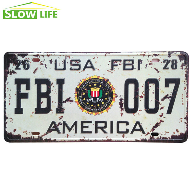 New USA FBI 007 Car Metal License Plate Metal Tin Sign Vintage Home ...