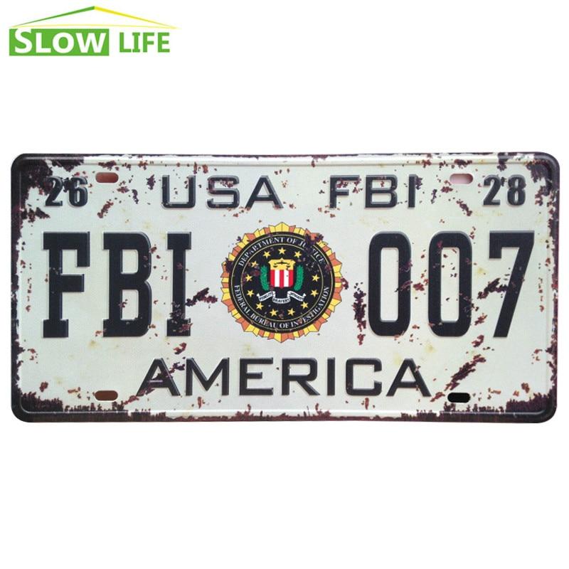 New USA FBI 007 Car Metal License Plate Metal Tin Sign Vintage Home Decor Tin Sign Bar Decorative Metal Sign New Metal Plaque