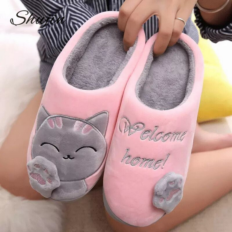 SHUJIN/женская и мужская обувь для влюбленных пар; зимние домашние тапочки с рисунком кота; нескользящие теплые домашние тапочки для женщин и женщин