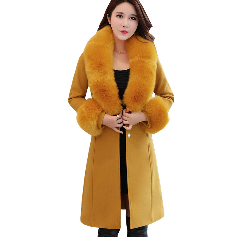 2019 Artificial Fur Collar Wool Coats Women Winter Thicken Woolen Coats Fashion Warm Slim Blends Wool Jackets Overcoats