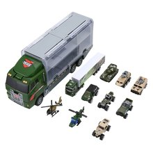 11PCS Childrens Toy Catapult Battle Container Truck Storage Box Mini Alloy Engineering Vehicle Car Model Toys
