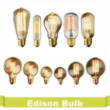 Edison Bulb Luminaria St64 Retro Lamp Bombilla Vintage Lampada Filamento 220V 40W E27 Antique Decorative Bulbs Carbon Filament