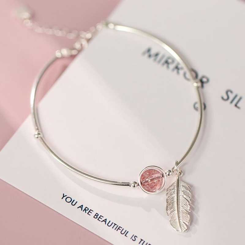 Literary Feather Strawberry Crystal 925 Sterling Silver Temperament Creative Female Sweet Trendy Resizable Bracelets SBR061