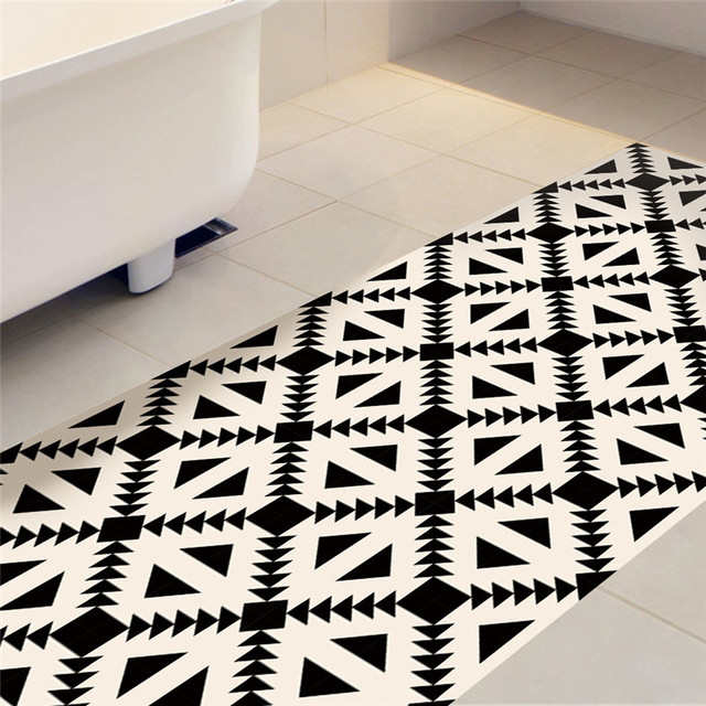 Beige Black Geometry Imitation Ceramic Tile Sticker Kitchen Study - Ceramic tile slip resistance rating