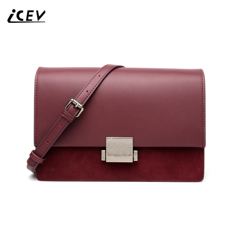 ICEV Vintage Fashion Scrub Genuine Leather Handbags Women Messenger Bag High Quality Bags Handbags Women Famous Brands Bolsa Sac icev new fashion europe style genuine leather handbags alligator women leather handbags bags handbags women famous brands bolsa