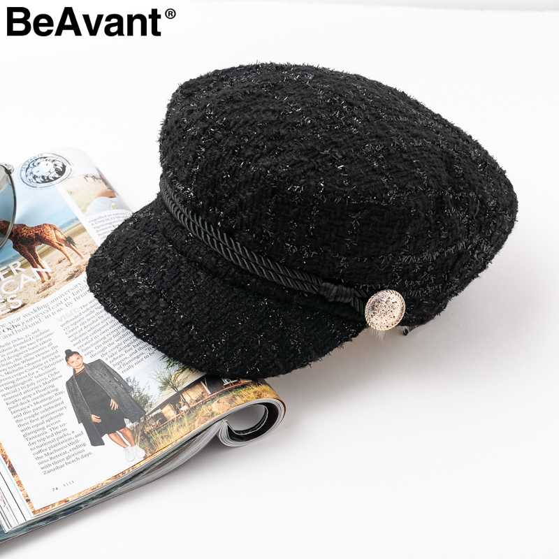 952f9c26481 BeAvant Runway stamping visor octagonal cap hat women Autumn winter fashion  military cap Vintage england style
