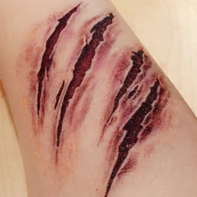Halloween Zombie Scars Tattoos Stickers With Fake Scab Blood