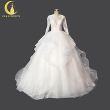 Rhine Real Picture New Arrival Long Sleeves Lace Sexy See Through Back Ball gown Bridal Wedding Dresses