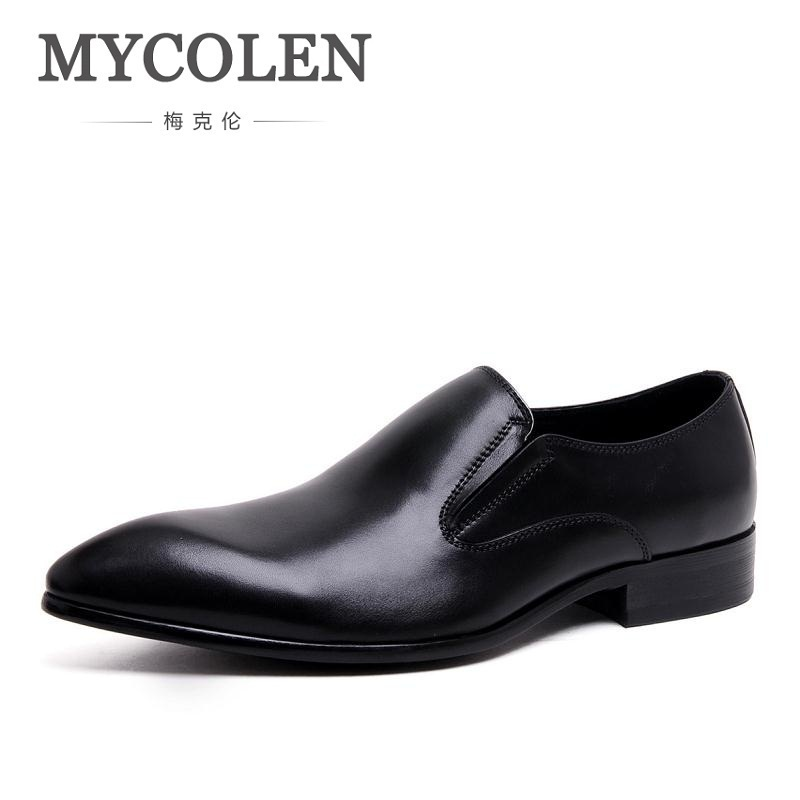 MYCOLEN Black Handmade Men Loafers Leather Slippers Men Party And Wedding Dress Shoes Men's Flats Chaussure Classique Homme men loafers paint and rivet design simple eye catching is your good choice in party time wedding and party shoes men flats
