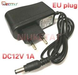 1 шт. DC 12 в 1 а AC100V-240V ЕС вилка конвертер адаптер питания 12V1A 1000mA интерфейс 5,5 мм * 2,1 мм (2,5 мм) привод светодиодные ленты