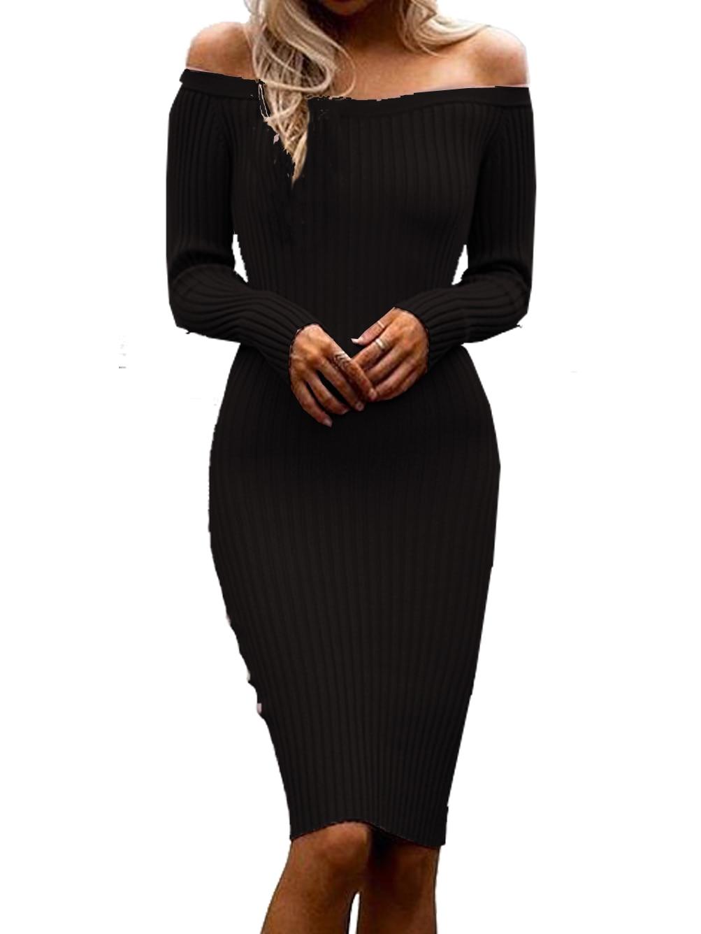 Off The Shoulder Dresses Women Knitted Long Sleeve Black Bodycon Dress Slim Stretch Winter Dresses Women 2016 Black Friday New cute off the shoulder lemon dress for women