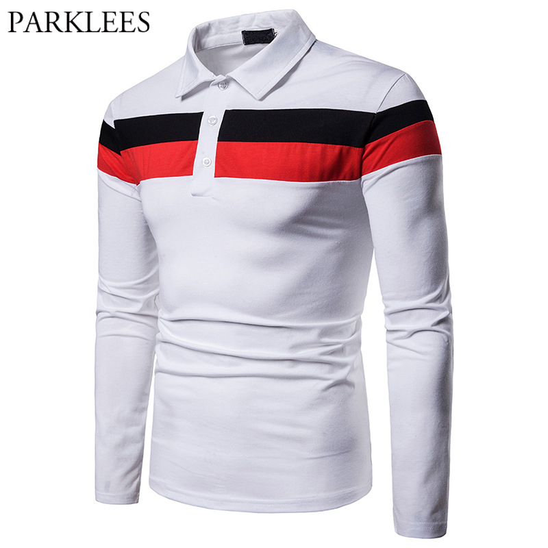 White Stripe Patchwork   Polo   Shirt Men Casual Slim Fit Long Sleeve Male Business Work   Polo   Shirts Plus Size Camisa   Polo   Masculina