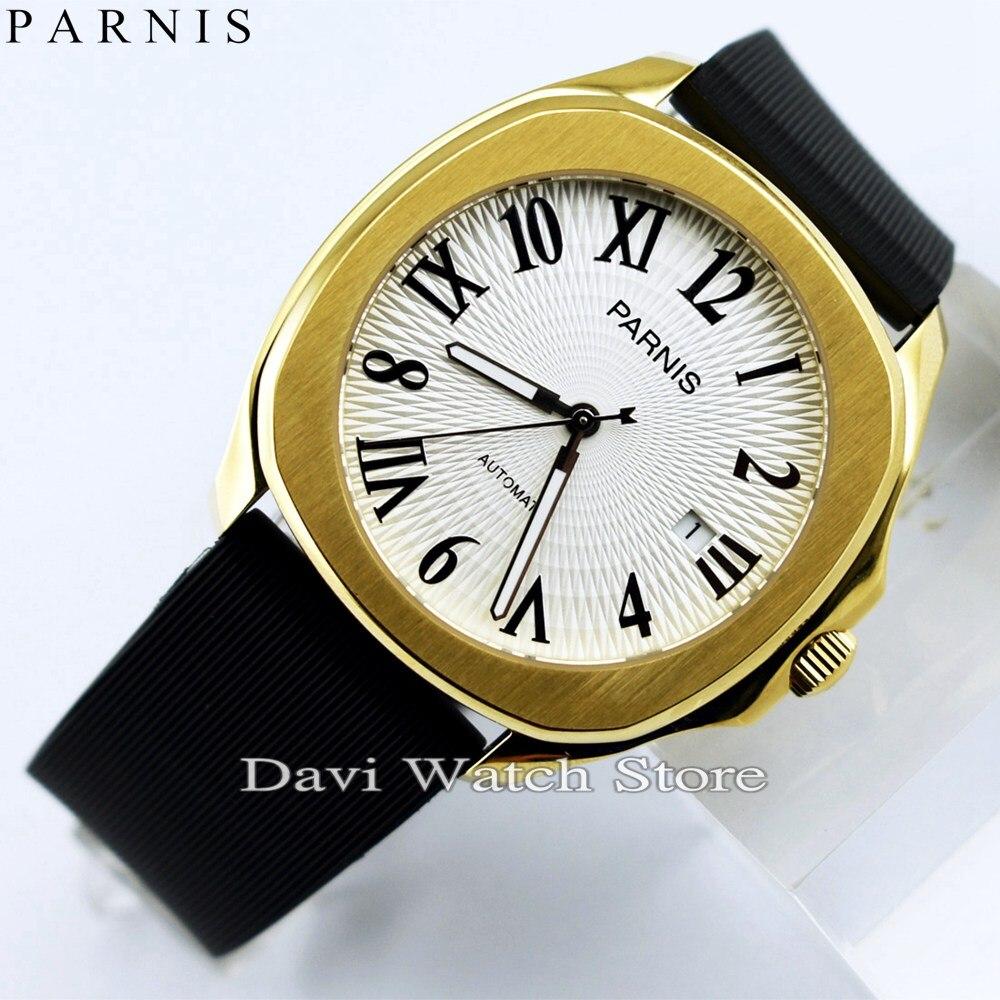 Новинка 2017, хит продаж, часы для влюбленных, белый, черный, циферблат, золотой ремешок для часов, водонепроницаемые мужские часы, японский кв... - 2