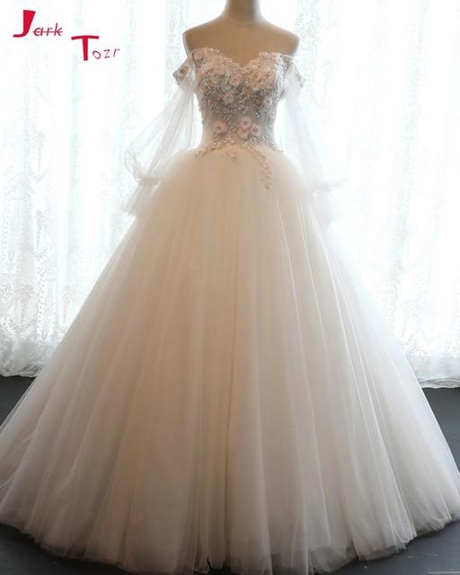 Jark Tozr New Arrival Off the Shoulder Beading Flowers Ivory Princess A-line  Wedding Dresses 36a237ea122b