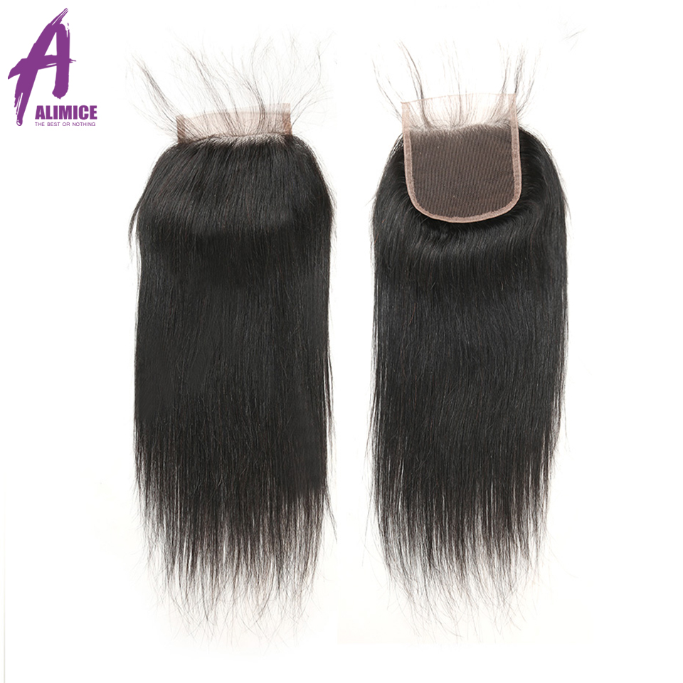 Alimice Cambodian Straight Hair 3 Bundles Deals With Closure Color 100% Human Hair Bundles With Lace Closure Free Part 4PcsLot (4)