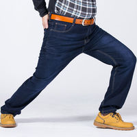 Men S Business Straight Loose Fat Denim Jeans Trousers Large Plus Size 48 50 52