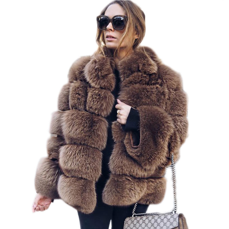 2018 Winter New Fur Coat Women Faux Fox Fur Coat Stand Collar Long Sleeve Faux Fur Jacket Fur gilet fourrure manteau femme PC309