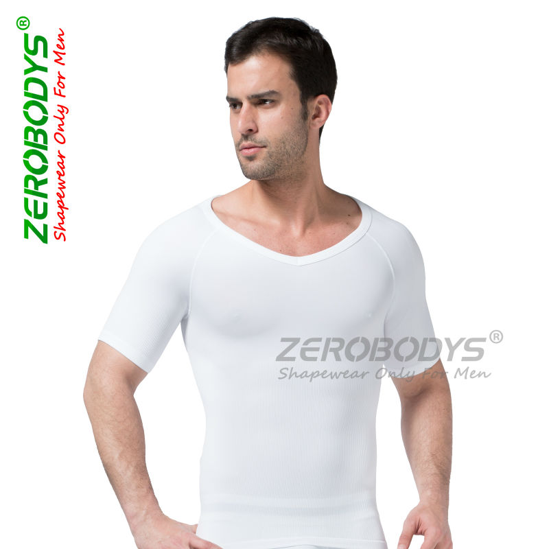 07ed9f9559189 10pc ZEROBODYS Comfortable Mens Body Shaper Short Sleeve Undershirt 349 GY  Back Support Girdle Shapewear Top Mens Spandex Tights-in Shapers from  Underwear ...