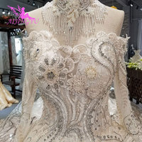 AIJINGYU Wedding Dress Italy White Gown With Sleeves Kiss Gowns Luxury Lace Wedding Ball Dresses