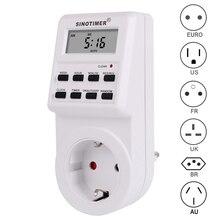 ЕС Великобритания США FR BR Plug цифровой Еженедельный Программируемый Электрический настенный разъем питания таймер розетка время на выходе часы 220 В 110 В переменного тока