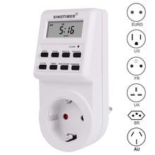 цена на EU UK US FR BR Plug Digital Weekly Programmable Electrical Wall Plug-in Power Socket Timer Switch Outlet Time Clock 220V 110V AC