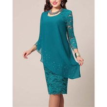 Large Size Dress Solid Color Lace Dress Elegant 3/4 Sleeve Slim Plus Size Dress O-Neck Casual Chiffon Party Dress