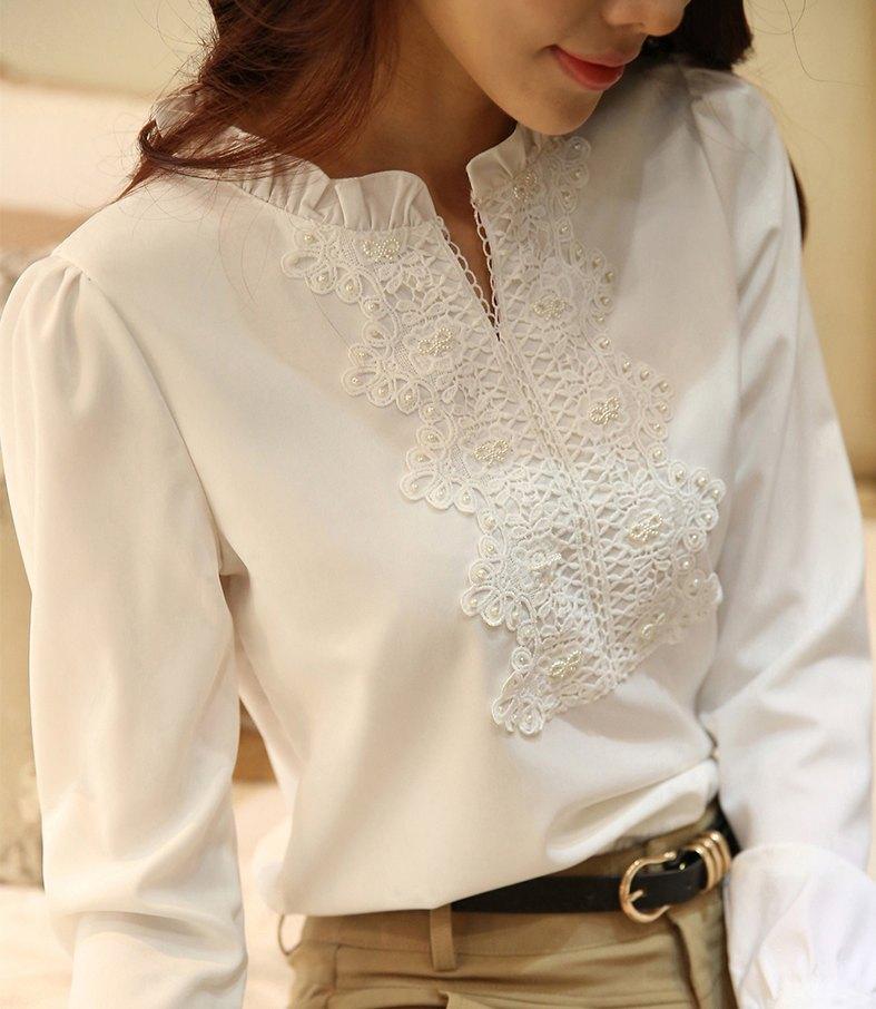 Top Printemps automne chemisier blanc mousseline de soie chemise  QZ47