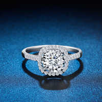 ZHJIASHUN Halo 0.8ct Moissanites Diamond 14K 585 White Gold Wedding Engagement Rings For Women F Jewelry