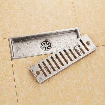 Ванная комната Матовый никель 300*100 мм из нержавеющей стали квадратный Пол Отходов решетки слив в ванной Трап -- MD53760