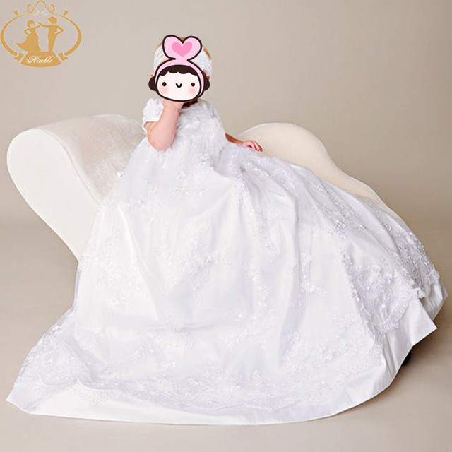 Nimble Белый Дети Девочка Крещение Платья Кружева Новорожденных Dress Christening Wear с Лентой